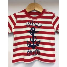 ANCHOR DESIGN SHORT SLEEVE BABY TEE, RED & WHITE STRIPE