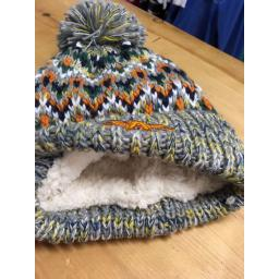 'FLYING A' CHUNKY KNIT FULLY LINED BOBBLE HAT, GREY MULTI