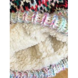 'FLYING A' FULLY LINED CHUNKY KNIT BOBBLE HAT, PINK MULTI
