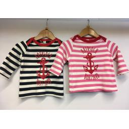 LONG SLEEVE ANCHOR DESIGN BABY TEE, PINK STRIPE