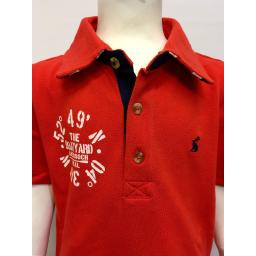JOULES 'COORDINATES' DESIGN BOYS POLO SHIRT, RED