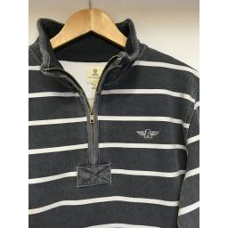 STRIPED MOUSQUETON 1/4 ZIP SWEAT, WASHED NAVY
