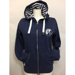 LAZY JACKS 'ab52' DESIGN FULL ZIP LADIES HOODIE. NAVY