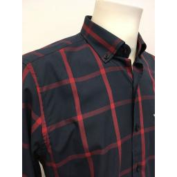 ABERSOCH BOATYARD EXCLUSIVE COTTON SHIRT, NAVY & RED CHECK