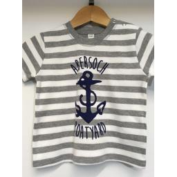 ANCHOR DESIGN SHORT SLEEVE BABY TEE, GREY & WHITE STRIPE