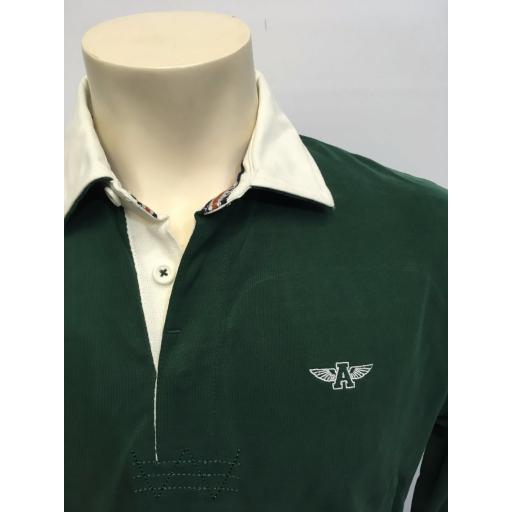 MENS EMBROIDERED 'FLYING A' RUGBY SHIRT, GREEN