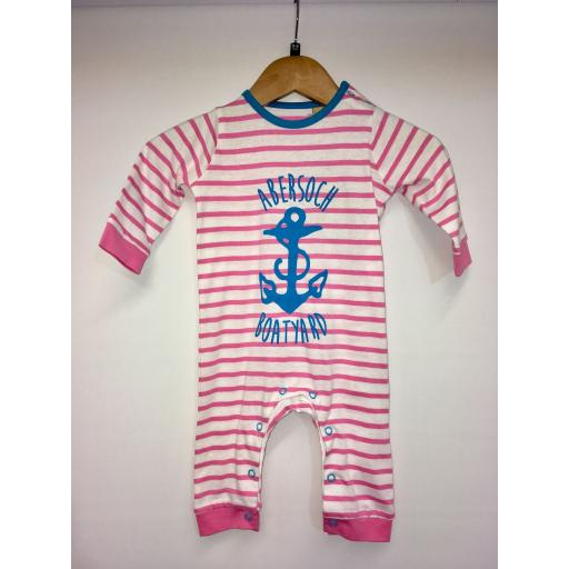 ANCHOR DESIGN FOOTLESS BABYGRO, PINK & WHITE STRIPE