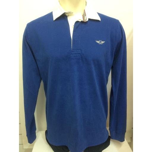 MENS EMBROIDERED 'FLYING A' RUGBY SHIRT, BLUE