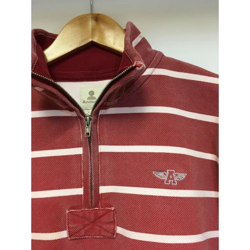 STRIPED MOUSQUETON 1/4 ZIP SWEAT, WASHED RED