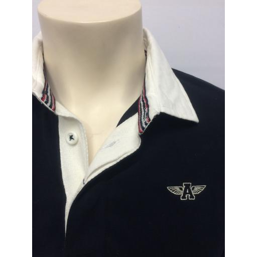 MENS EMBROIDERED 'FLYING A' RUGBY SHIRT, NAVY