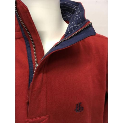 LAZY JACKS SAIL DESIGN 1/4 ZIP SWEATSHIRT, BRICK RED
