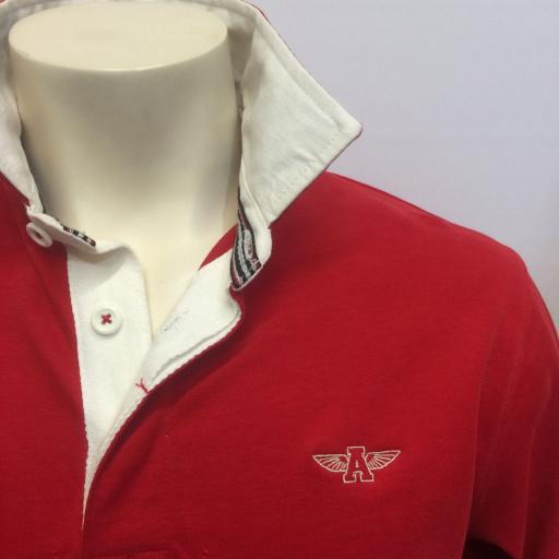 MENS EMBROIDERED 'FLYING A' RUGBY SHIRT, RED