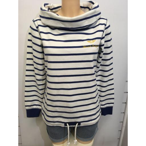 LAZY JACKS EMBROIDERED BOAT NECK SWEAT, WHITE & BLUE STRIPE