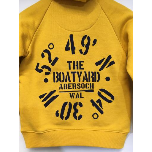 'COORDINATES' DESIGN KIDS BUTTON NECK HOODIE, MUSTARD