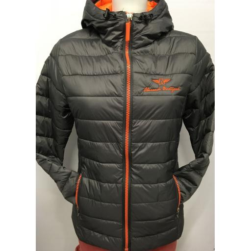 LADIES 'FLYING A' WINDPROOF PADDED JACKET, GREY/ORANGE