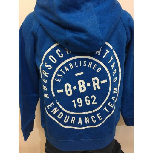 'GBR ENDURANCE TEAM' KIDS BUTTON NECK HOODIE, BLUE