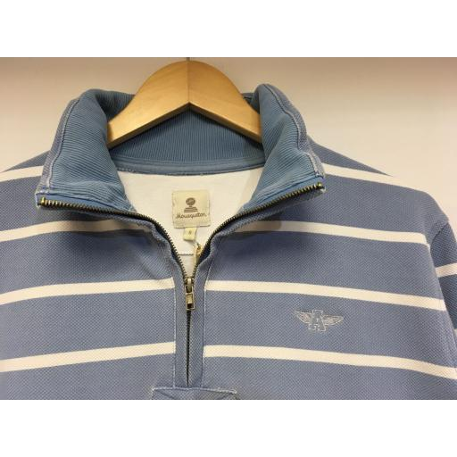STRIPED MOUSQUETON 1/4 ZIP SWEAT, WASHED SKY