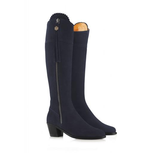 THE HEELED REGINE BOOT, NAVY SUEDE