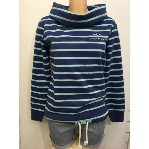 LAZY JACKS EMBROIDERED BOAT NECK SWEAT, BLUE & TURQUOISE STRIPE
