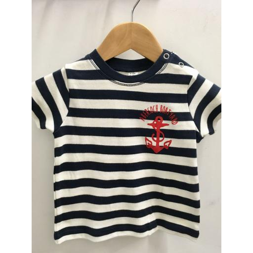 ANCHOR DESIGN SHORT SLEEVE BABY TEE, NAVY & WHITE STRIPE