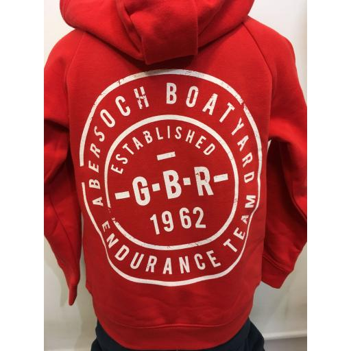 'GBR ENDURANCE TEAM' KIDS BUTTON NECK HOODIE, RED