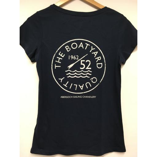 'BOATYARD QUALITY' DESIGN LADIES TEE, NAVY