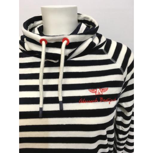 JOULES FUNNEL NECK, NAVY STRIPE
