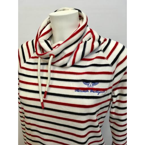 JOULES FUNNEL NECK, RED & NAVY STRIPE
