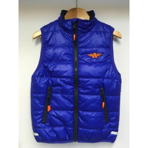 KIDS FLYING A EMBROIDERED GILET, ROYAL BLUE