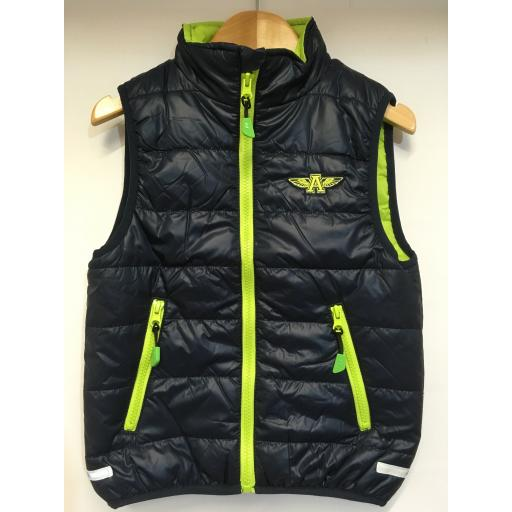 KIDS FLYING A EMBROIDERED GILET, NAVY