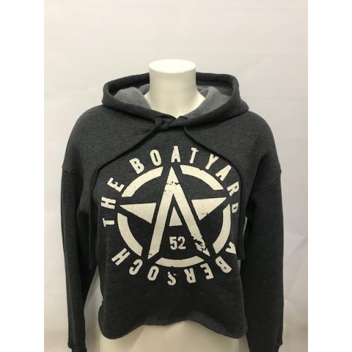 Ladies Cropped Hoodie Charcoal NEW Flying <A> Design