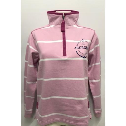 Lazy Jacks 'Anchor Design' 1/4 Zip Sweatshirt, Chalky Pink