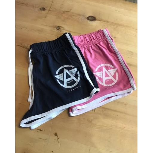 Flying A Design Jersey Cotton Short Shorts, Pink