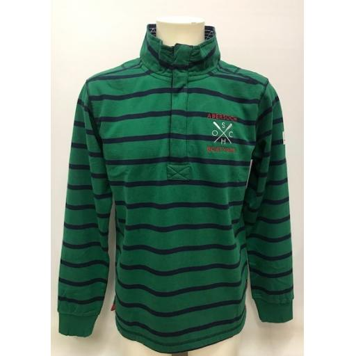 Lazy Jacks Embroidered 1/4 Zip Sweatshirt, Leaf Green Stripe