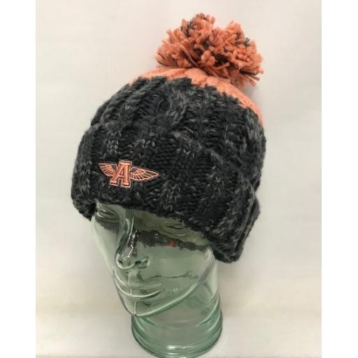 Flying A Design Bobble Hat, Grey/Peach