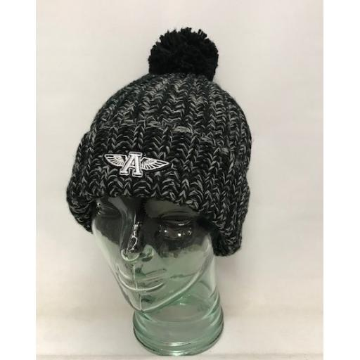 Flying A Design Bobble Hat, Black/Grey Fleck
