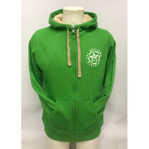Fleece Lined Flying A Design Full Zip Hoodie, Green