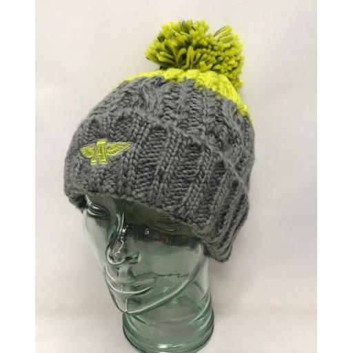Flying A Design Bobble Hat, Grey/Lime