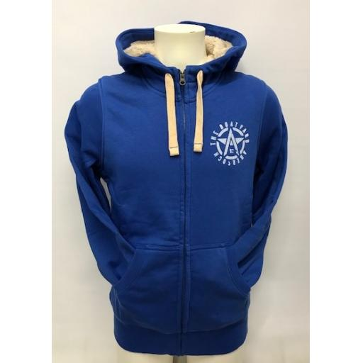 Fleece Lined Flying A Design Full Zip Hoodie, Royal