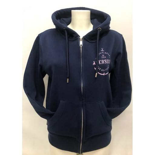 Organic Cotton Anchor Design Full Zip Hoody, Navy
