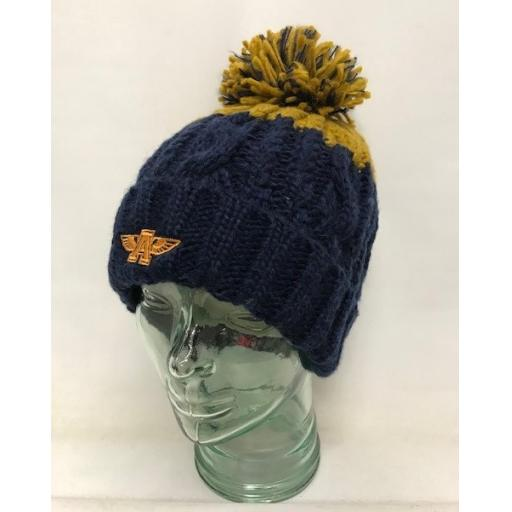 Flying A Design Bobble Hat, Navy/Mustard