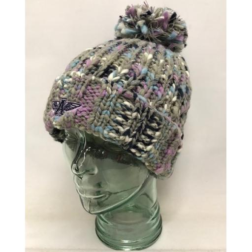 Flying A Design Bobble Hat, Lilac/Grey/Navy