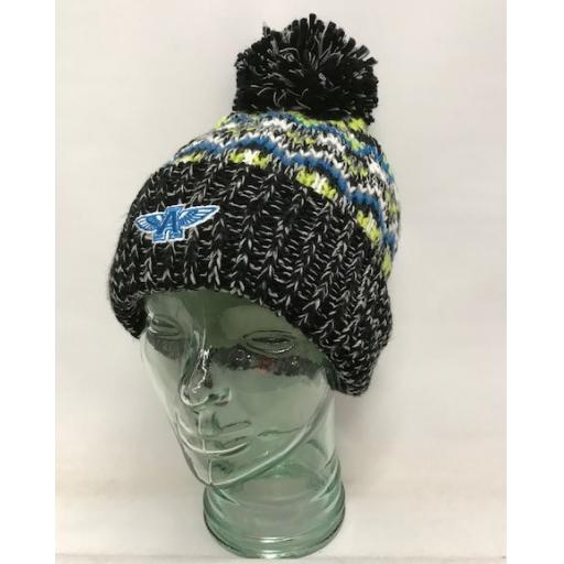 Flying A Design Fully Lined Bobble Hat, Black
