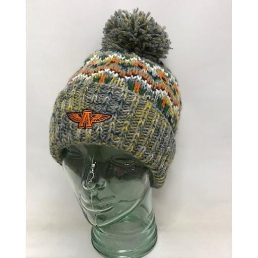 Flying A Design Fully Lined Bobble Hat, Grey