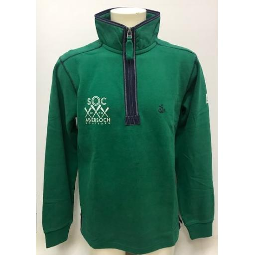 Lazy Jacks Crossed Oars Design 1/4 Zip Sweatshirt, Leaf Green