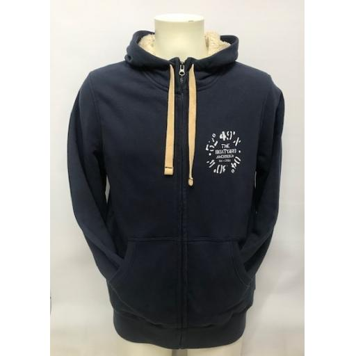 Fleece Lined Co-Ordinates Design Full Zip Hoodie, Navy