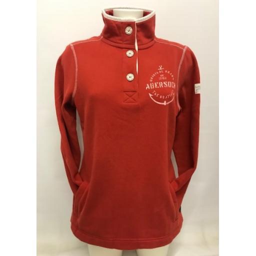 Lazy Jacks Anchor Design Button Neck Sweatshirt, Autumn Orange