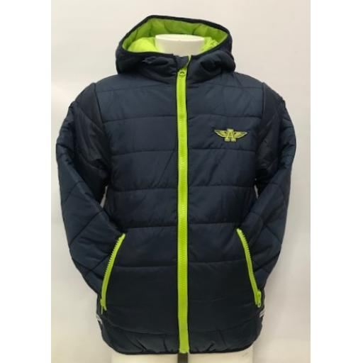 Kids Flying A Embroidered Coat, Navy/Lime