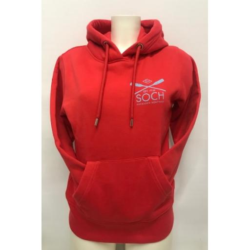 Organic Cotton Crossed Oars Design Hoodie, Red
