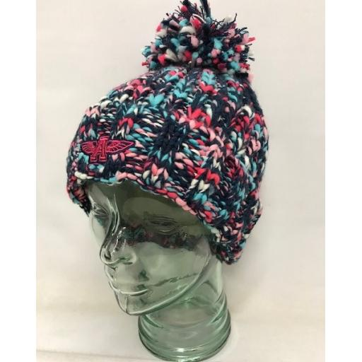 Flying A Design Bobble Hat, Pink Multi